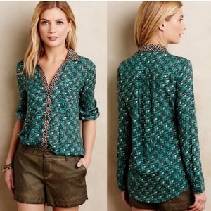 Anthropologie Maeve Casia Green Henley Button Up!